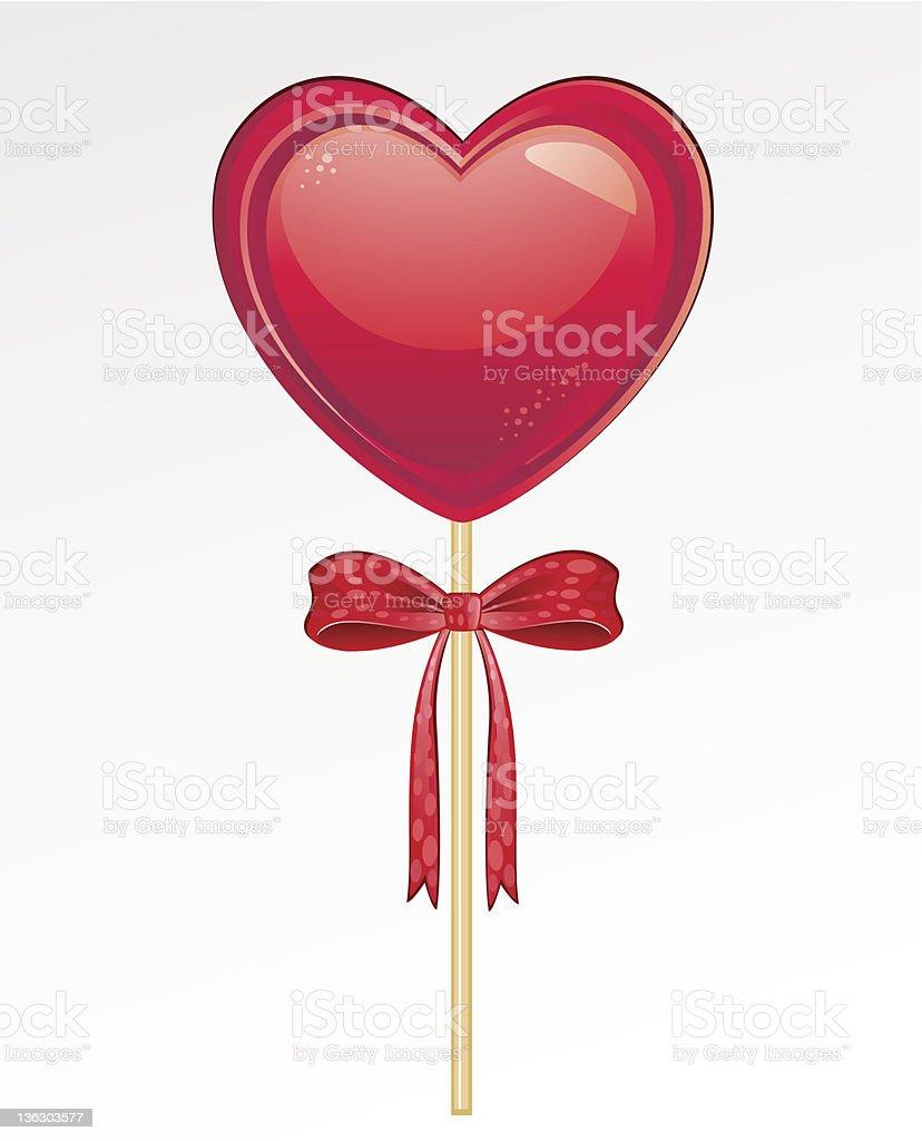 Heart Shaped Popsicle vector art illustration
