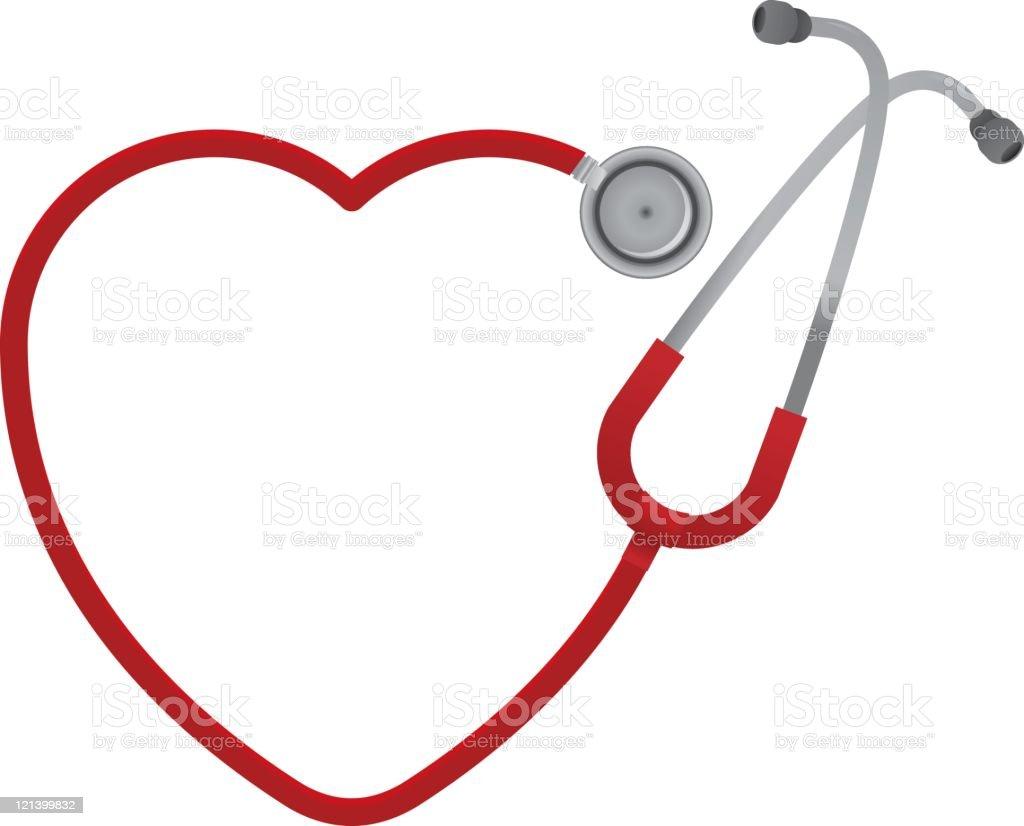 Heart Shaped Stethoscope vector art illustration