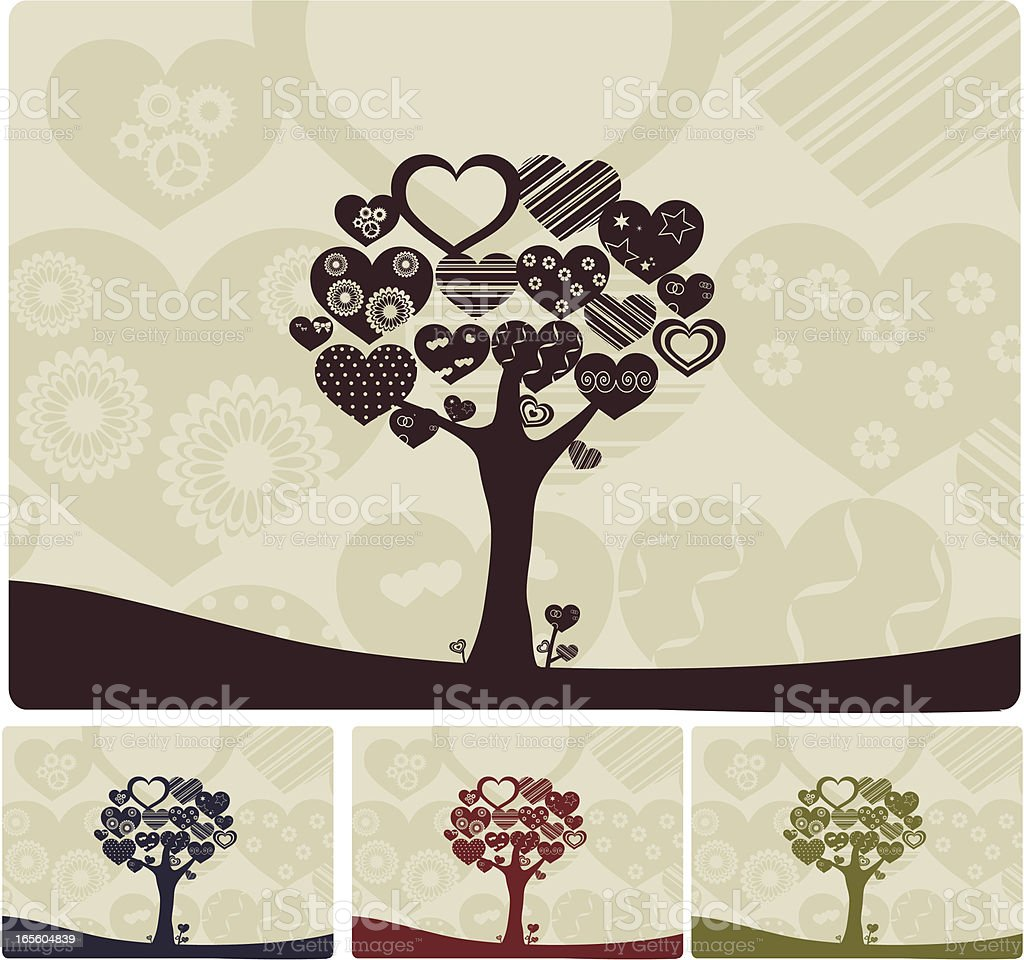 Heart Shaped Trees vector art illustration