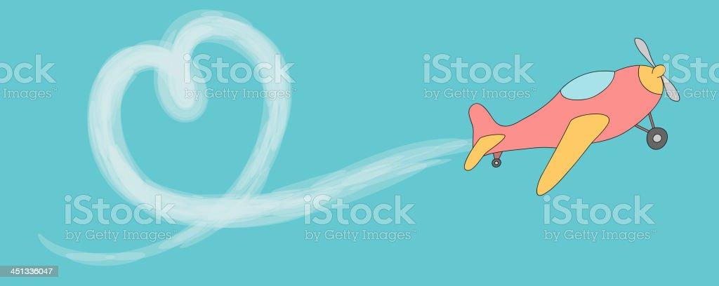 Heart shaped vapor trail vector art illustration
