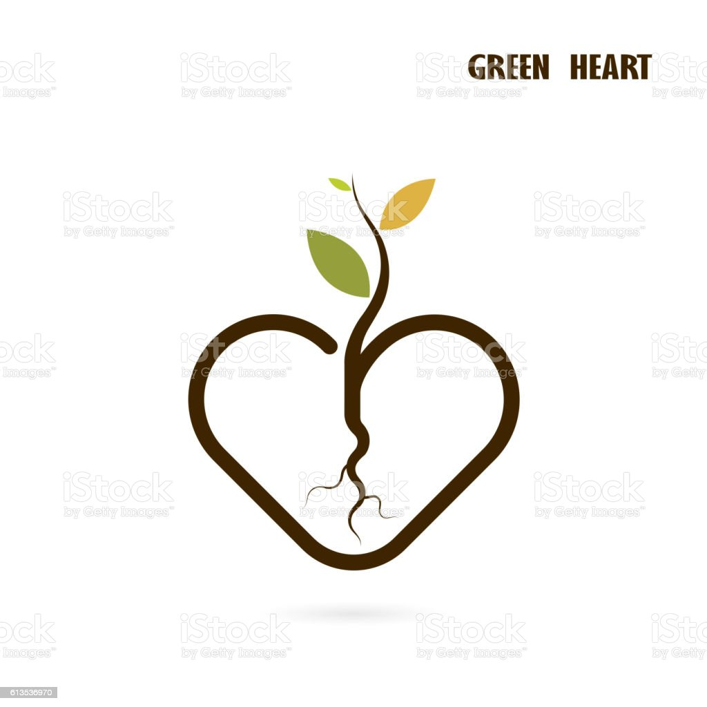 Heart sign and small tree icon with Green concept. vector art illustration