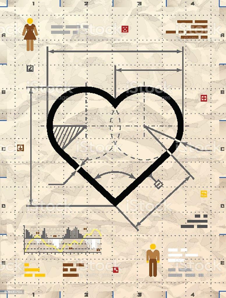 Heart sign as technical blueprint drawing vector art illustration