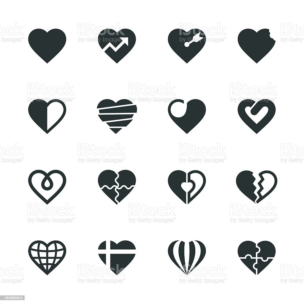 Heart Silhouette Icons | Set 2 vector art illustration