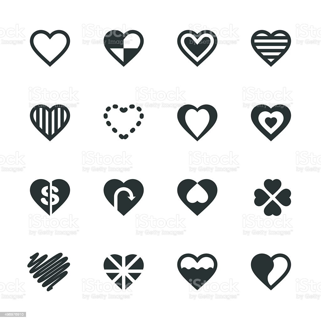 Heart Silhouette Icons | Set 3 vector art illustration