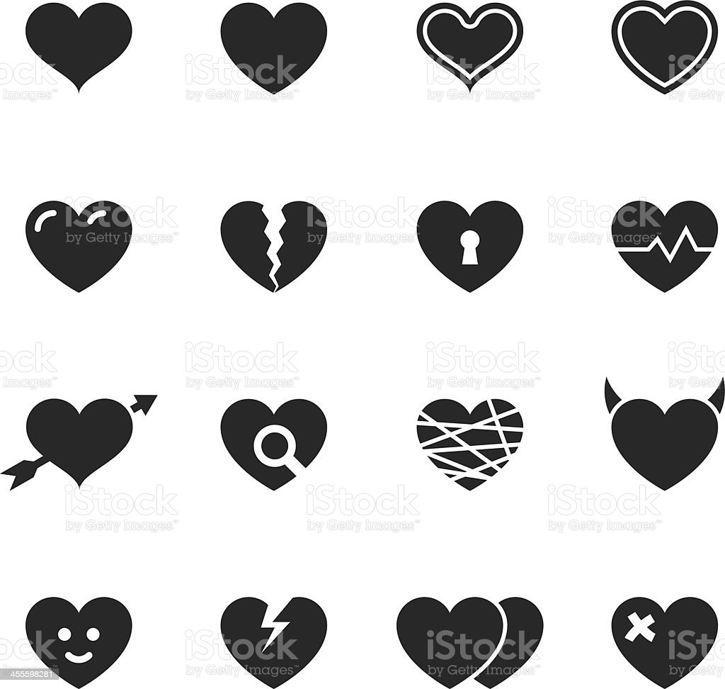 Heart Silhouette Icons vector art illustration