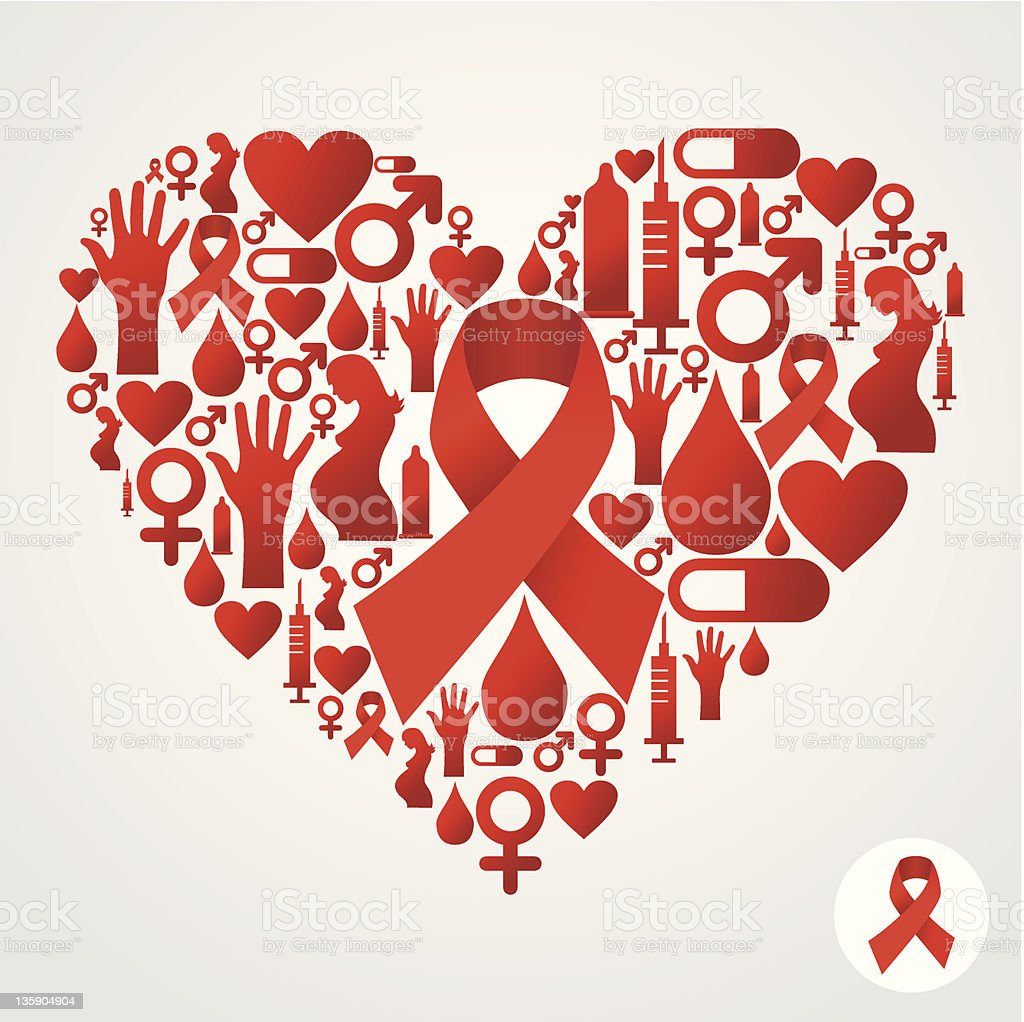 Heart silhouette with AIDS icons vector art illustration