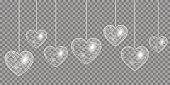 Heart Silver effect on a transparent background