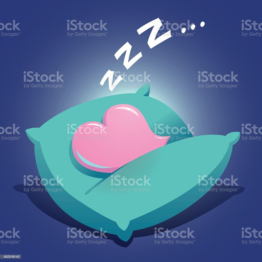 Heart Sleeping On a Cushion vector art illustration