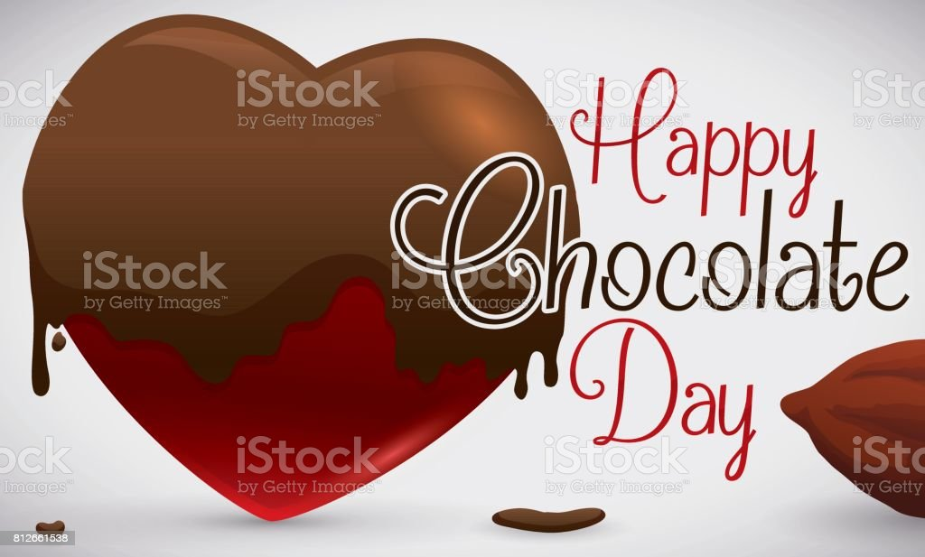 Heart Soaked in Chocolate and Cocoa Bean for Chocolate Day vector art illustration