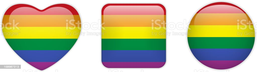Heart, Square and Circle Glass Buttons Gay royalty-free stock vector art