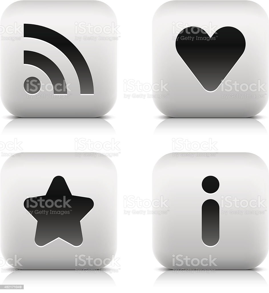 RSS heart star information sign square icon black pictogram button royalty-free stock vector art