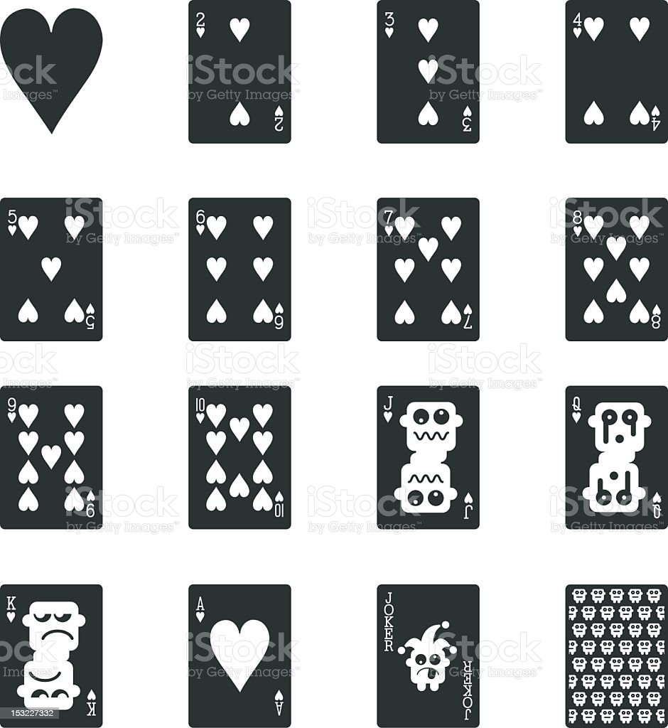 Heart Suit Playing Card Silhouette Icons vector art illustration
