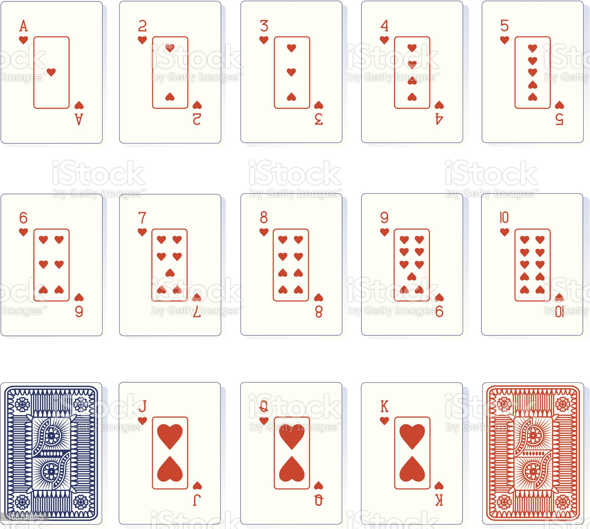 Heart Suit Playing Cards and Backs royalty-free stock vector art