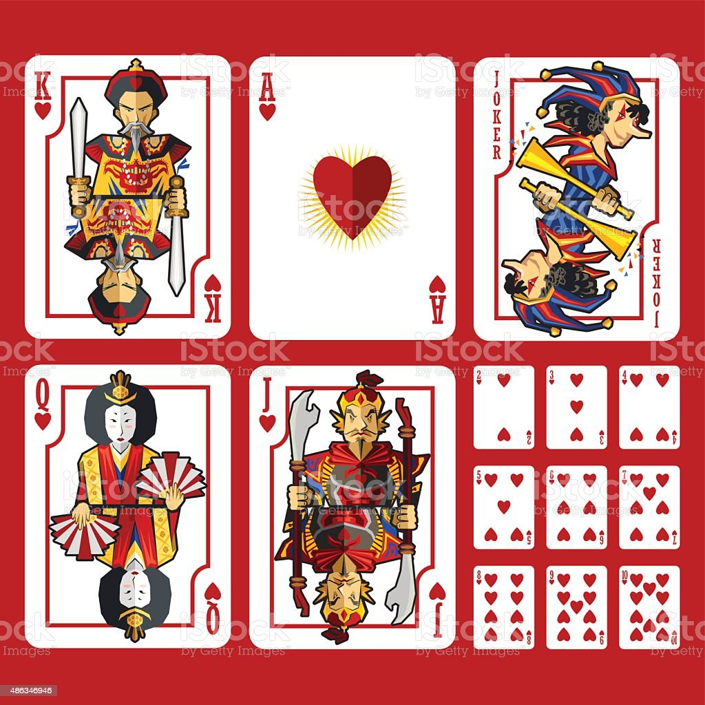 Heart Suit Playing Cards Full Set vector art illustration