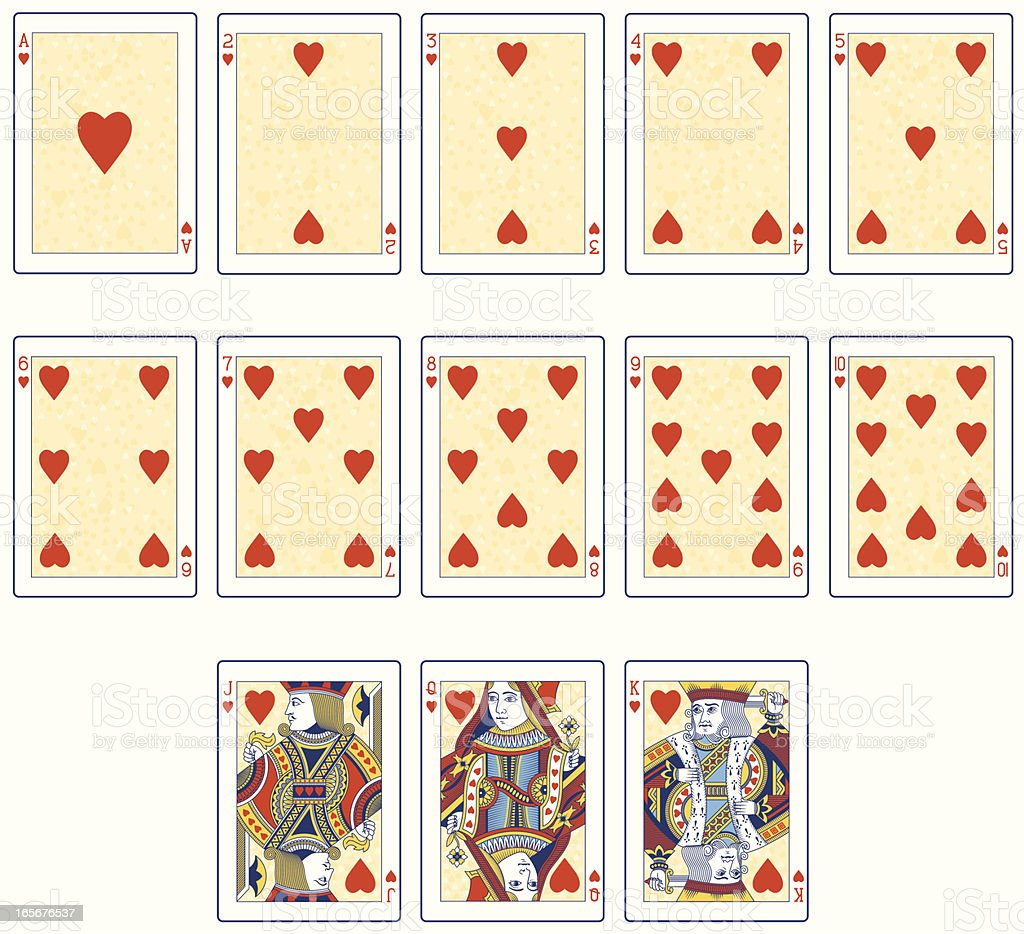 Heart Suit playing cards in color royalty-free stock vector art