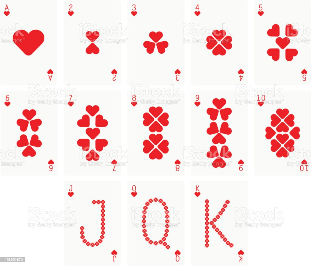 Heart Suit Two Playing cards vector art illustration