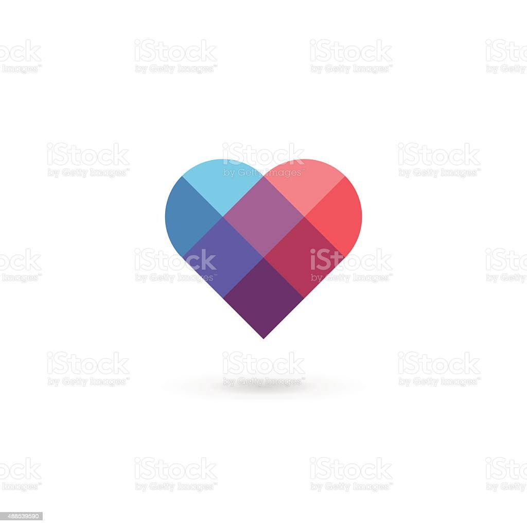 Heart symbol icon design template. May be used in medical, dating,...