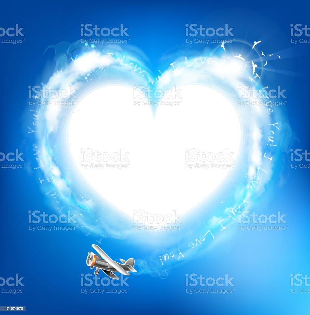 Heart symbol in the blue sky vector art illustration
