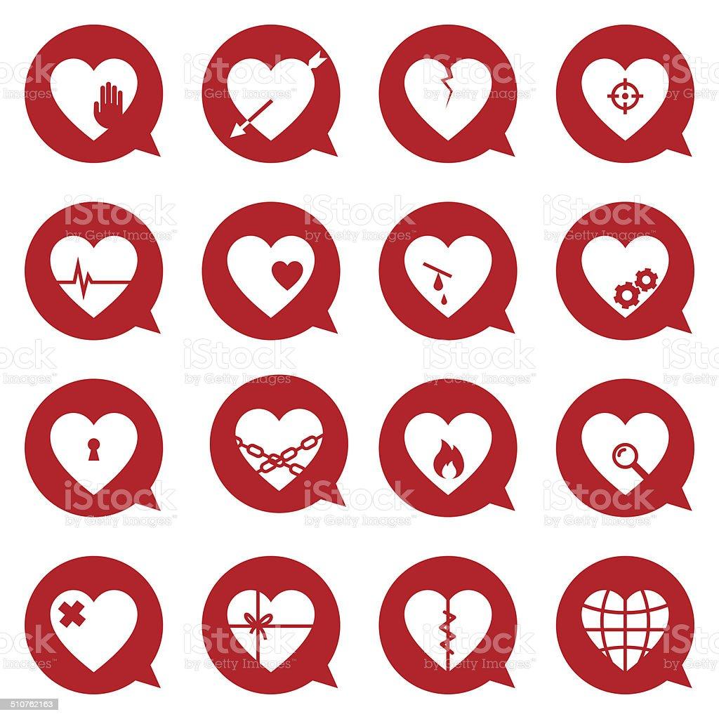 Heart Symbol Set vector art illustration