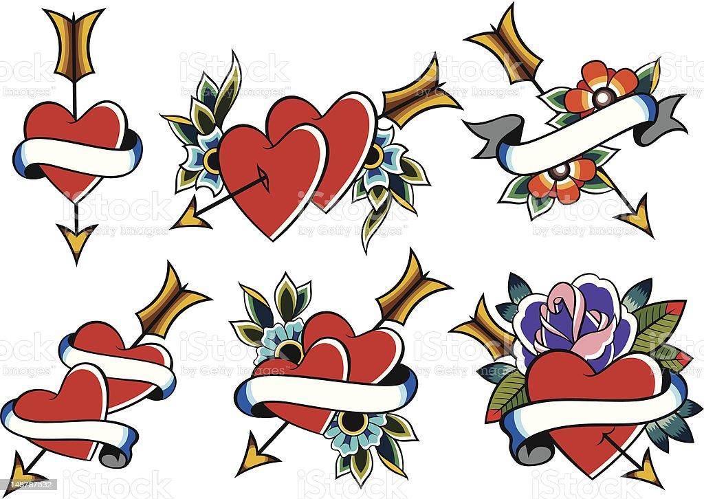 Tatuaggio cuore simbolo set di illustrazione royalty-free