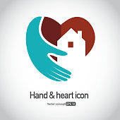 Heart symbol with hand and home icon
