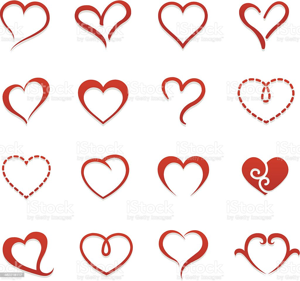 Heart valentine icon set vector illustration vector art illustration
