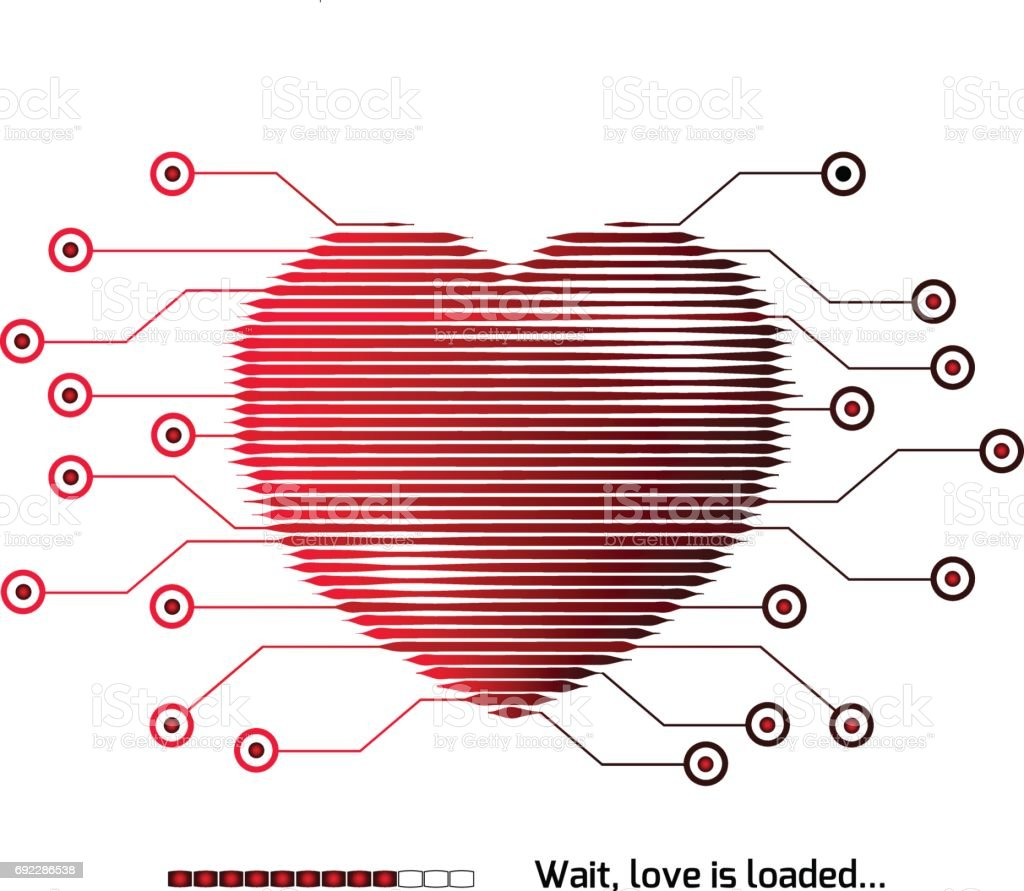 Heart vector love. Computer. Technology concept design. Communications, download of feelings. Valentine's day. Relations problem. Desire to feel. Occasion. Symbol. Celebration. Light vector art illustration