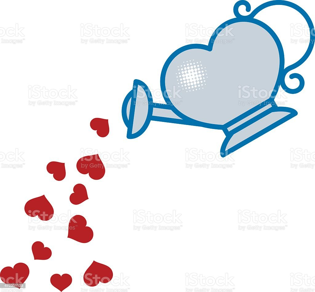 Heart Watering Can vector art illustration