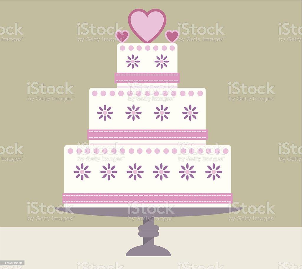 Heart wedding cake on a stand vector art illustration