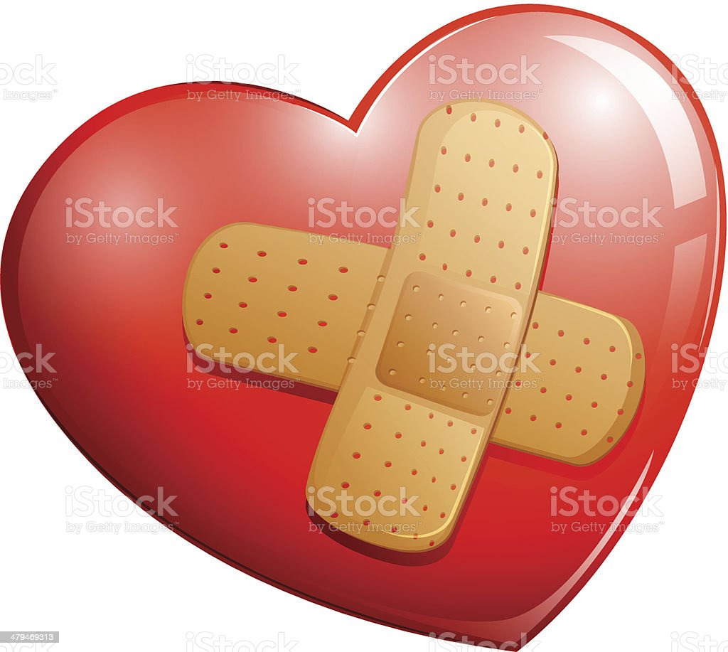 Heart with a plaster royalty-free stock vector art