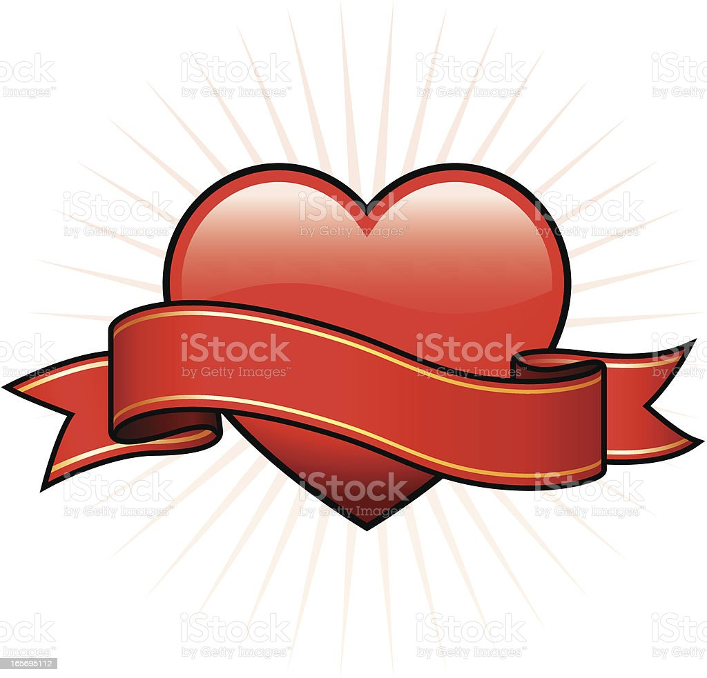 Heart with banner royalty-free stock vector art