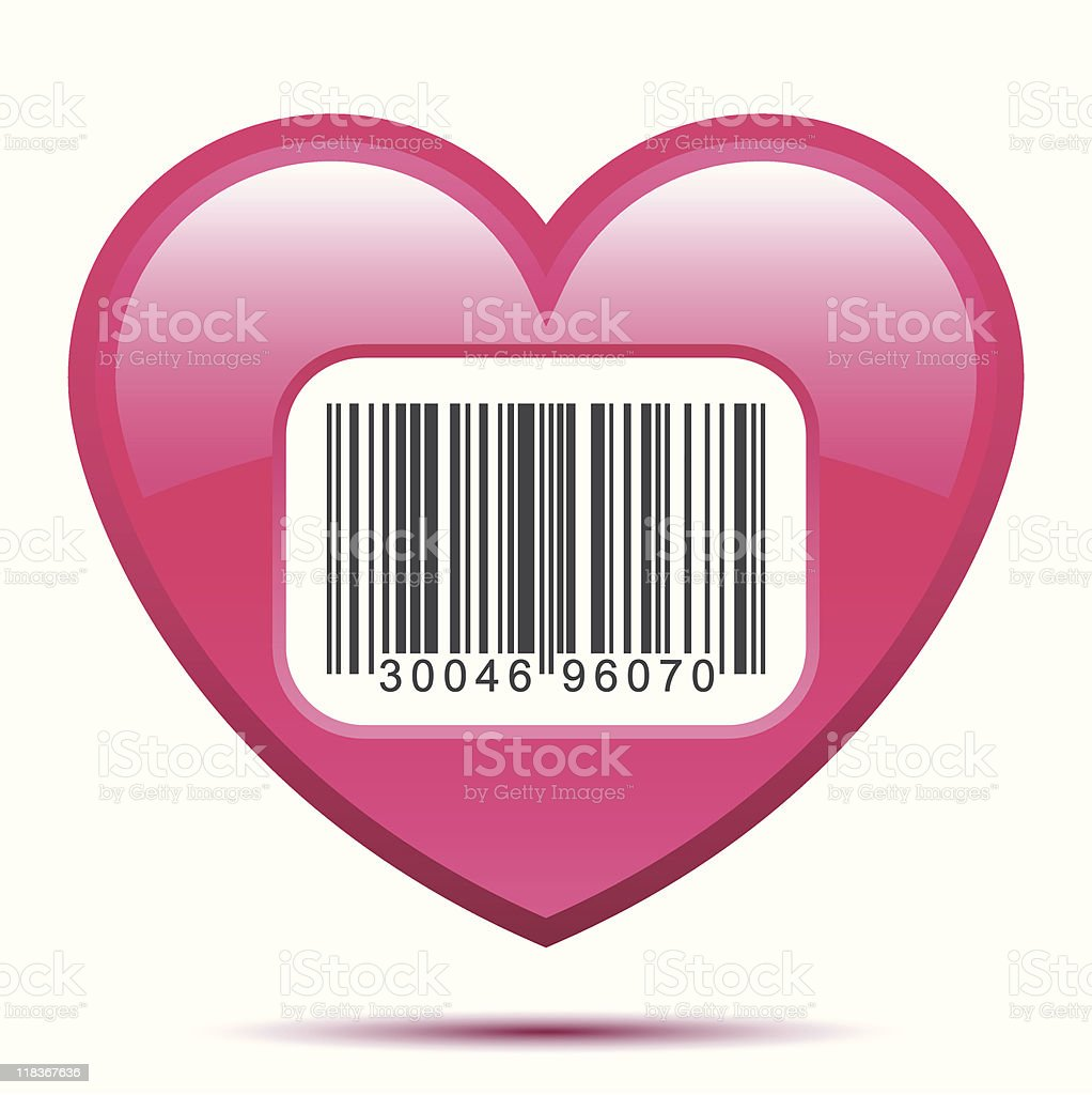 Heart with bar code label royalty-free stock vector art