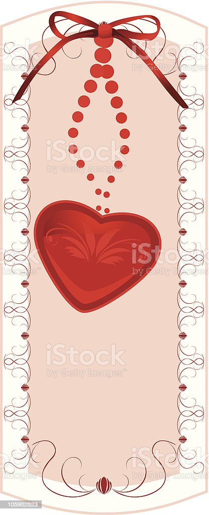 Heart with bow. Sticker royalty-free stock vector art