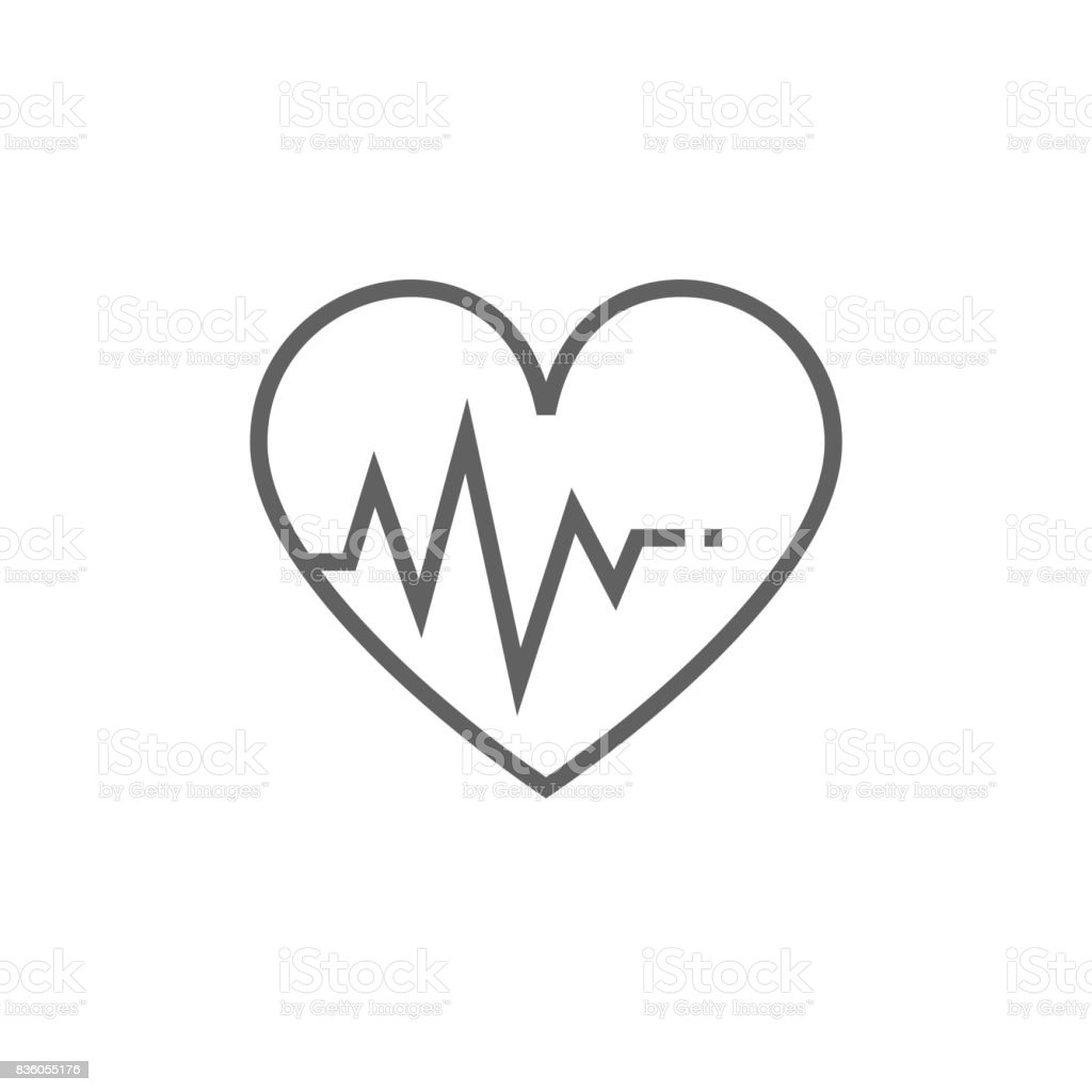 Heart with cardiogram line icon vector art illustration