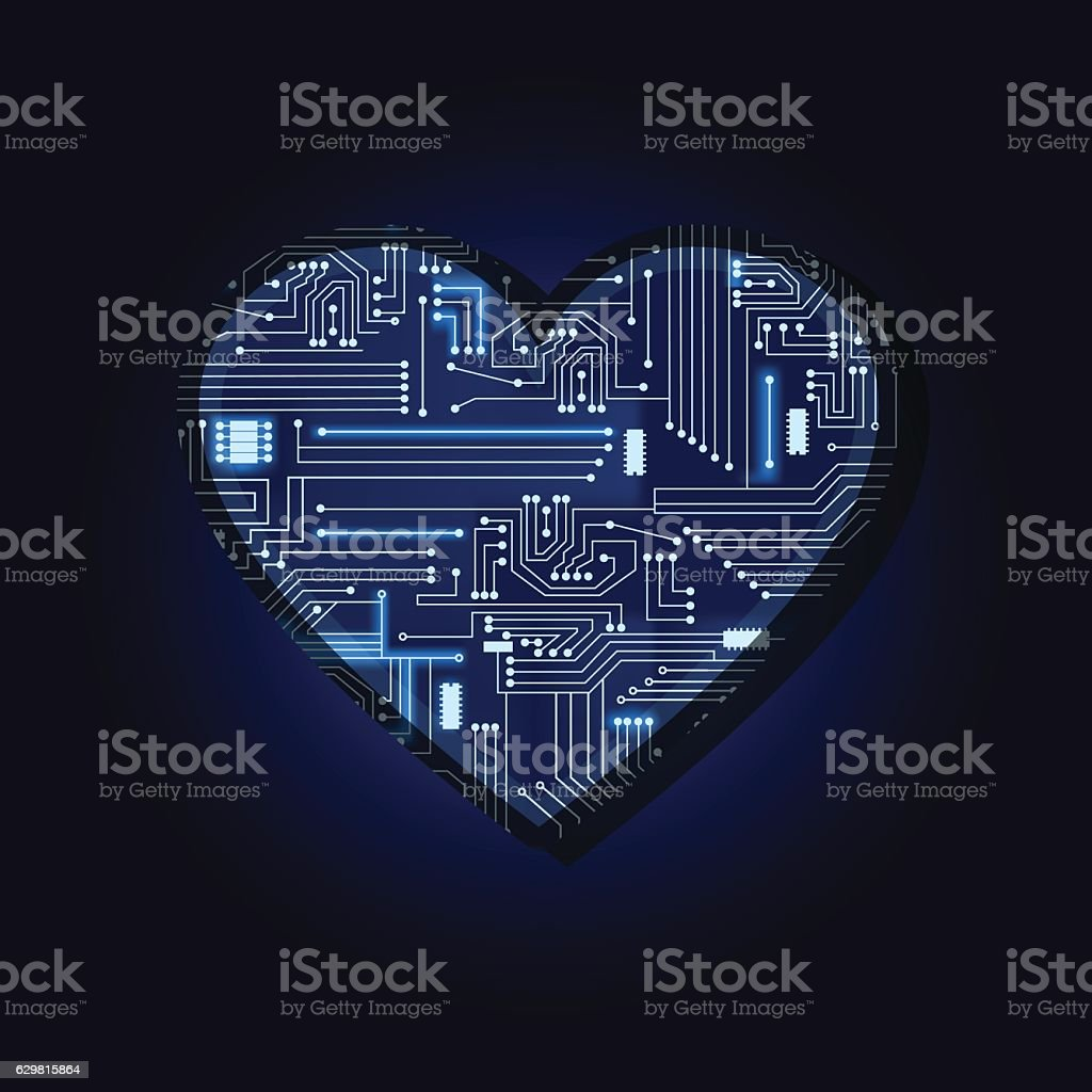 Heart with electronic circuit vector art illustration