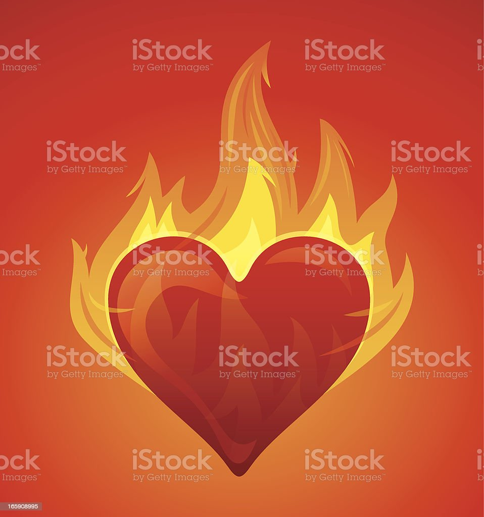 Heart with flames vector art illustration