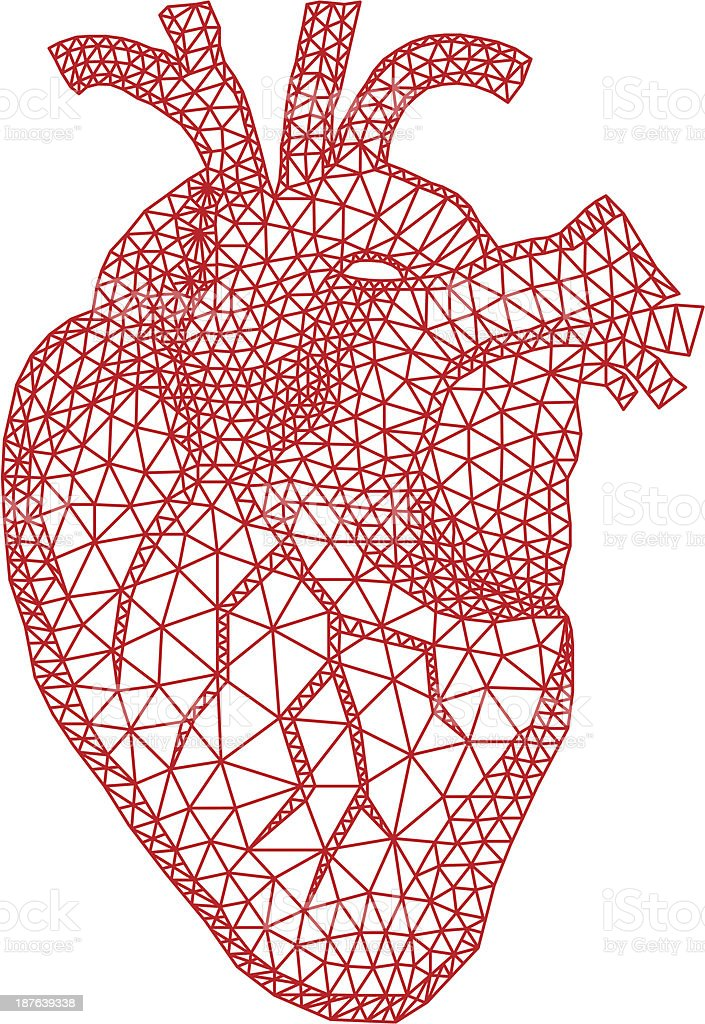 heart with geometric pattern, vector vector art illustration