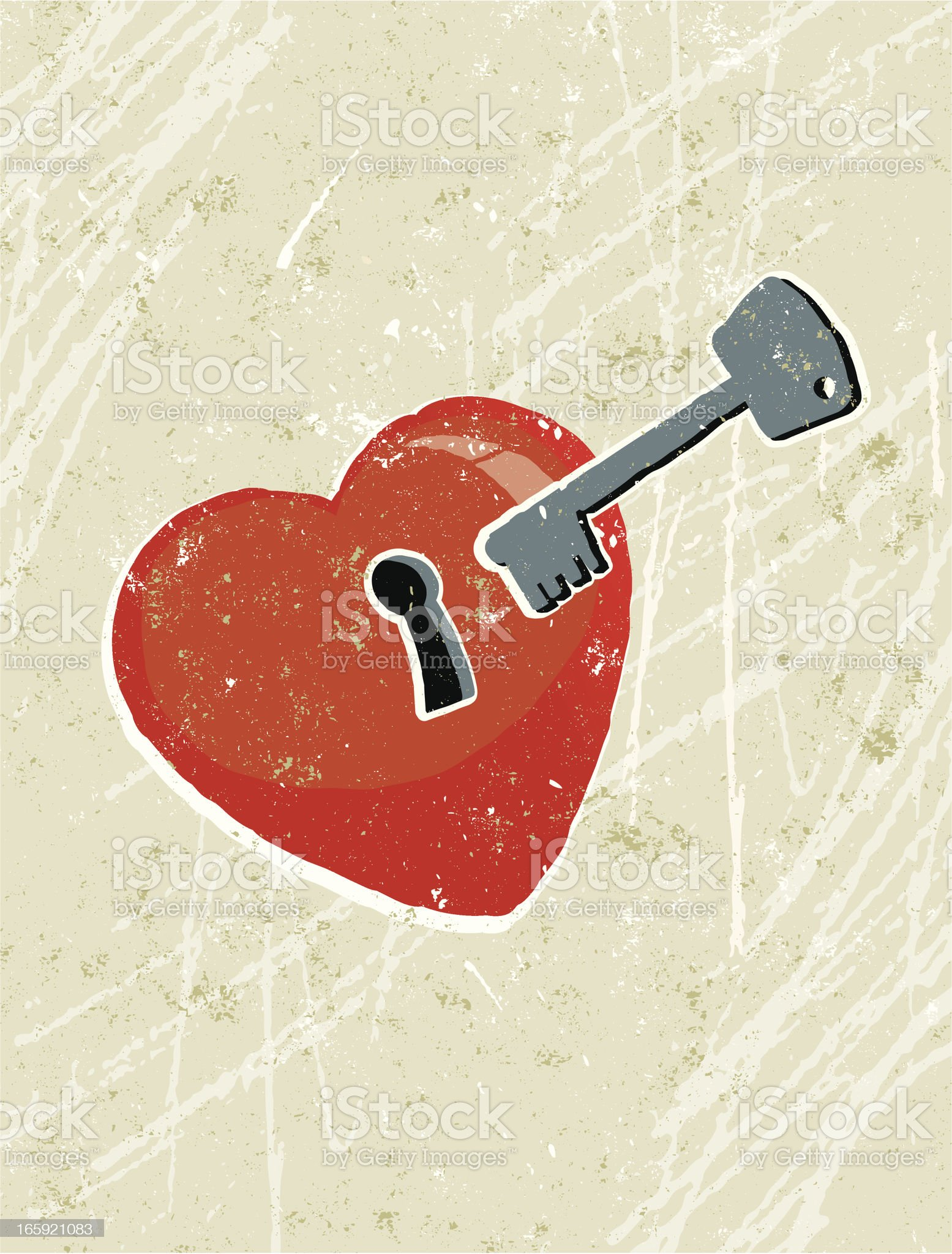 Heart with Keyhole and key royalty-free stock vector art