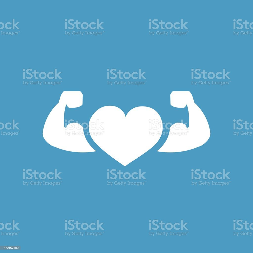 heart with muscle arms icon, white on the blue background vector art illustration