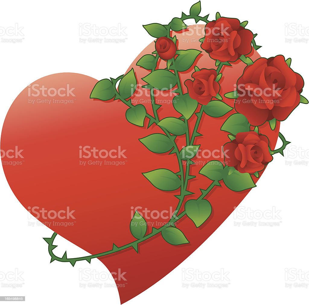 Heart with rose vector art illustration