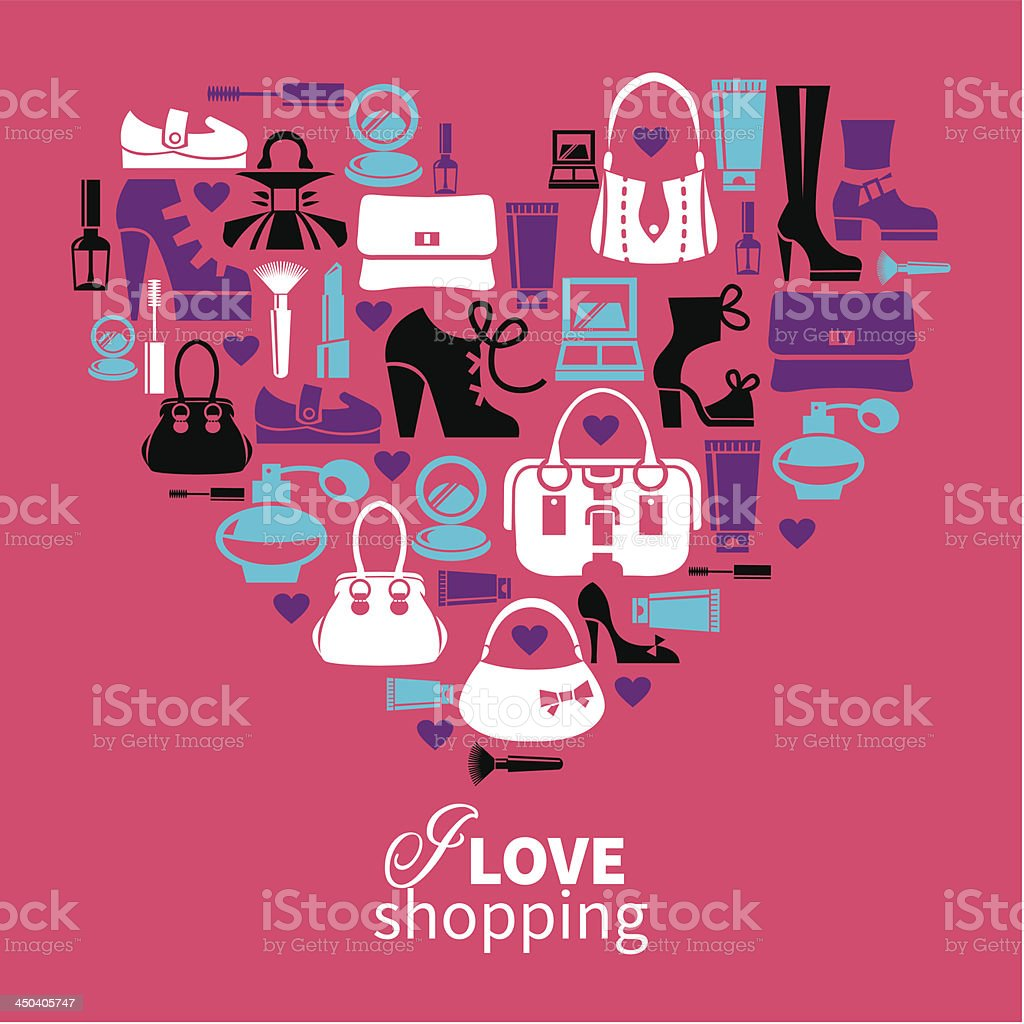 Heart with set of vector fashion women's icons royalty-free stock vector art