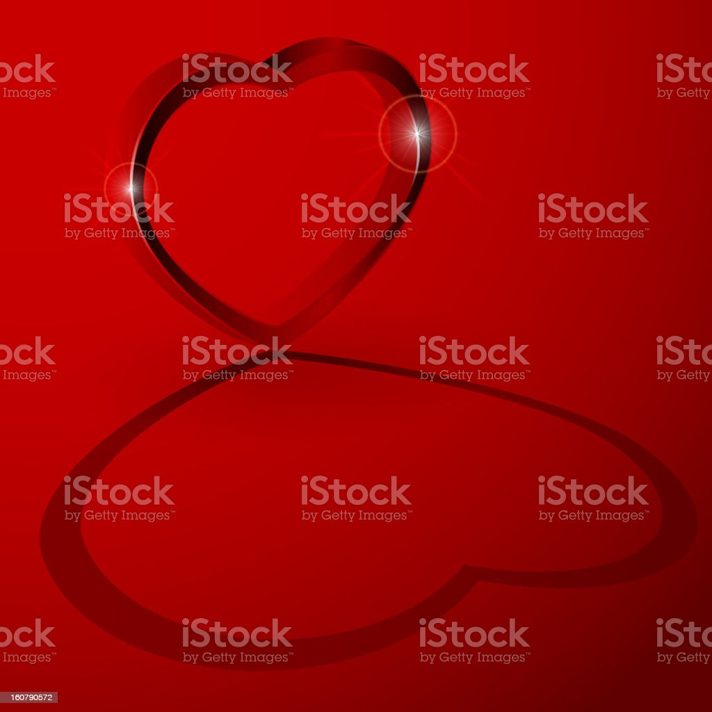3D heart with shadow royalty-free stock vector art