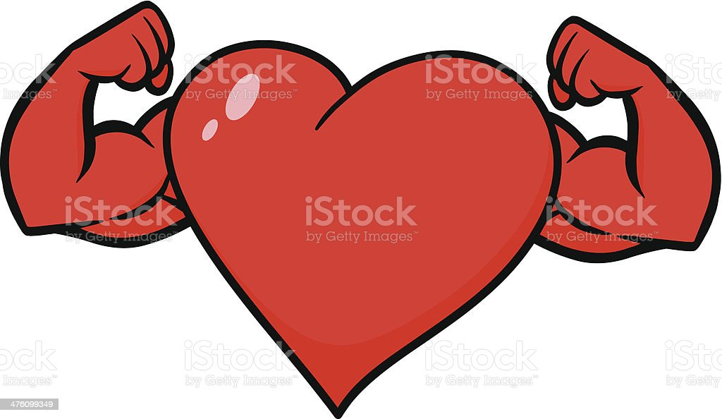 Heart with Strong Arms vector art illustration