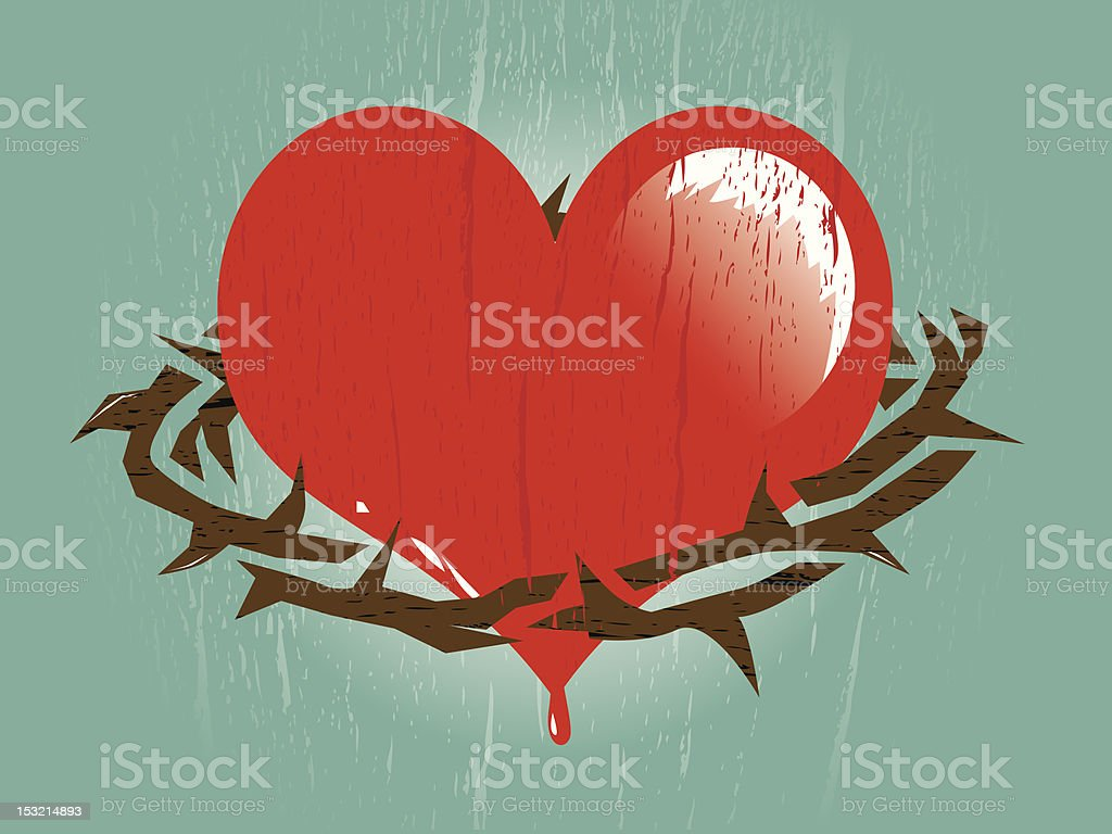 Heart With Thorns vector art illustration