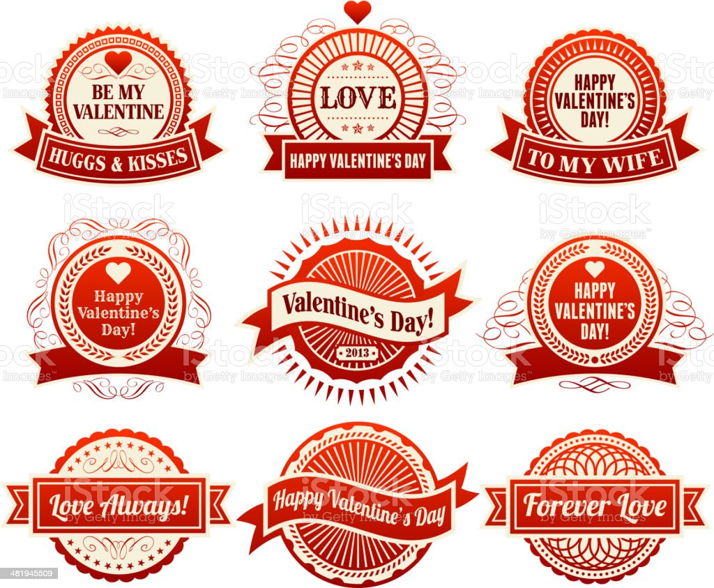 Heart with Valentine's Day Badges royalty-free stock vector art