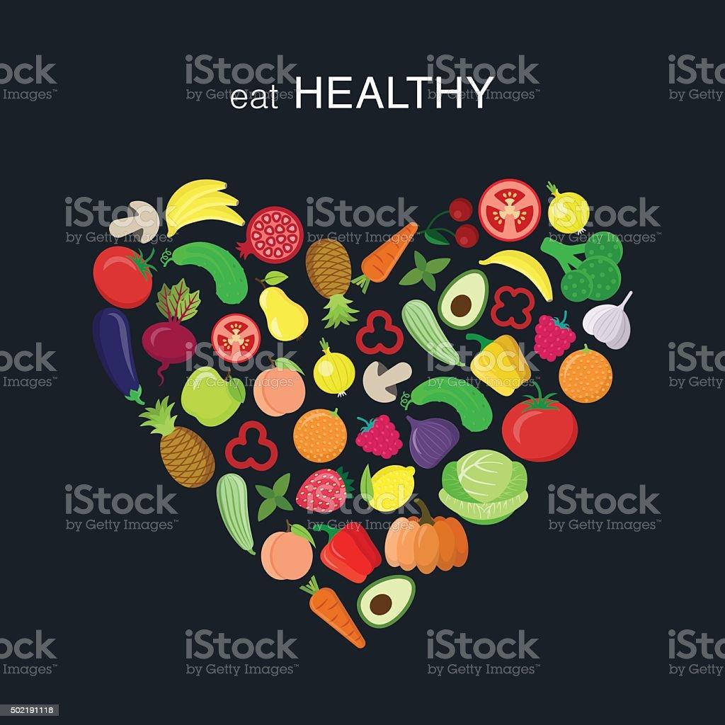Heart with vegetables vector art illustration