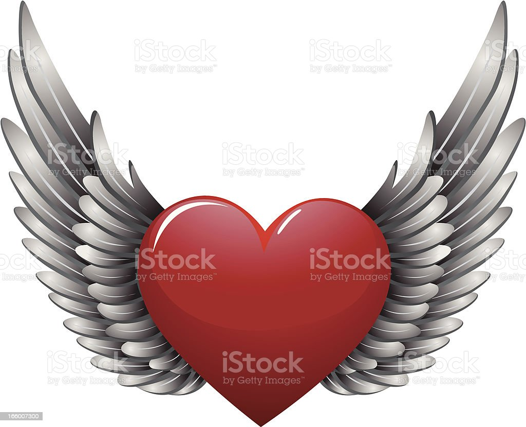 heart with wing vector art illustration