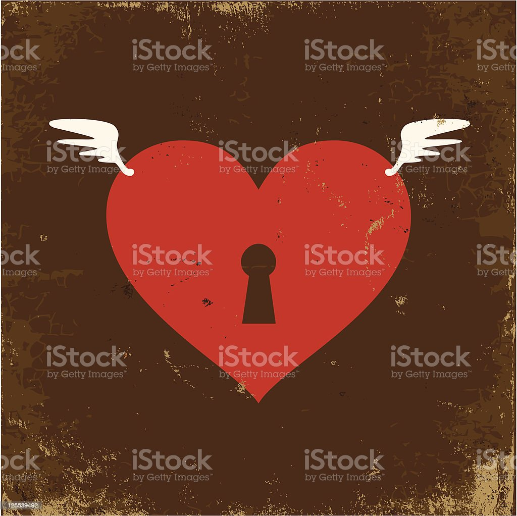 Heart with wings vector art illustration