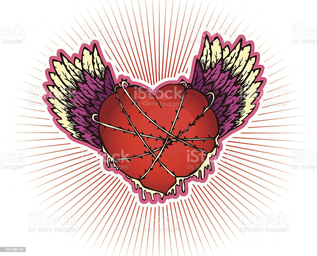 Heart with wings royalty-free stock vector art