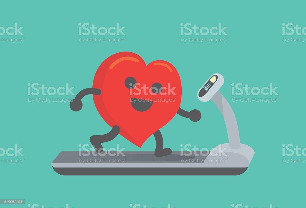 Heart workout with running on treadmill. vector art illustration